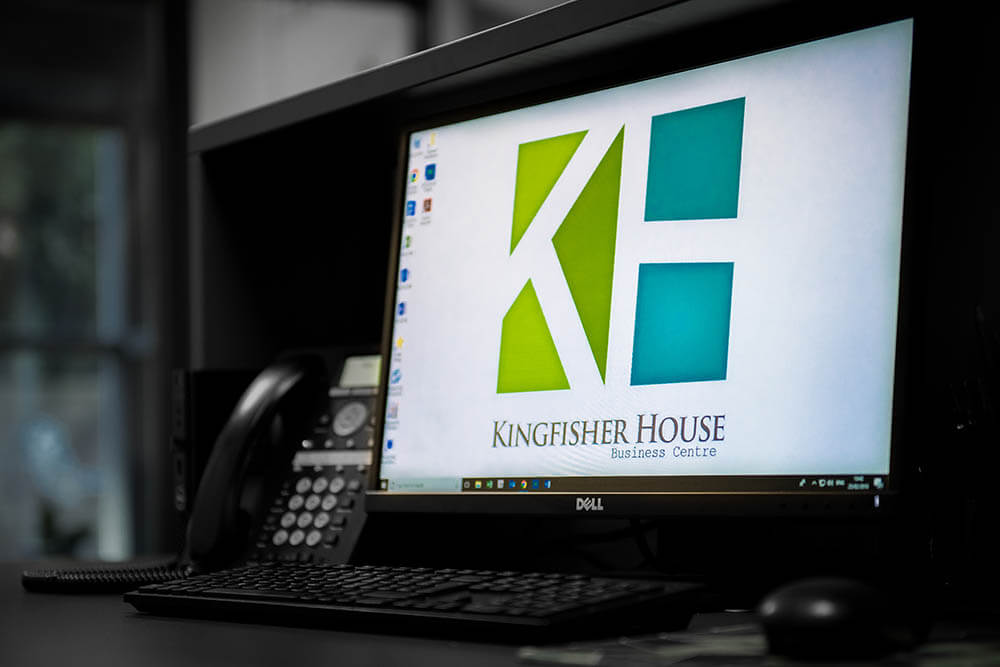 Kingfisher houe logo displayed on computer screen